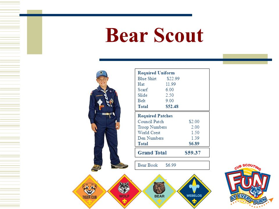Bear Scout Required Uniform Blue Shirt $22.99 Hat11.99 Scarf6.00 Slide2.50 Belt9.00 Total$52.48 Required Patches Council Patch $2.00 Troop Numbers2.00