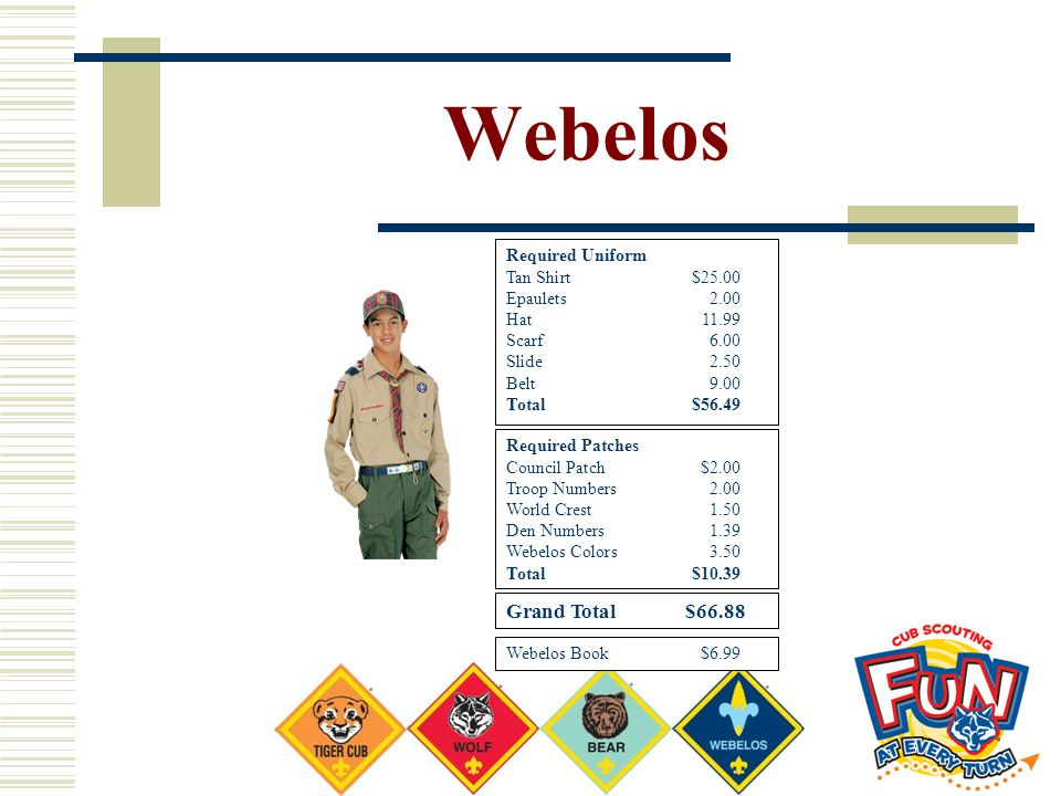 Webelos Required Uniform Tan Shirt $25.00 Epaulets2.00 Hat11.99 Scarf6.00 Slide2.50 Belt9.00 Total$56.49 Required Patches Council Patch $2.00 Troop Nu