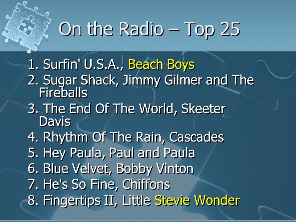 On the Radio – Top 25 1.Surfin U.S.A., Beach Boys 2.