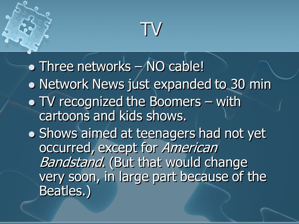 TV Three networks – NO cable.