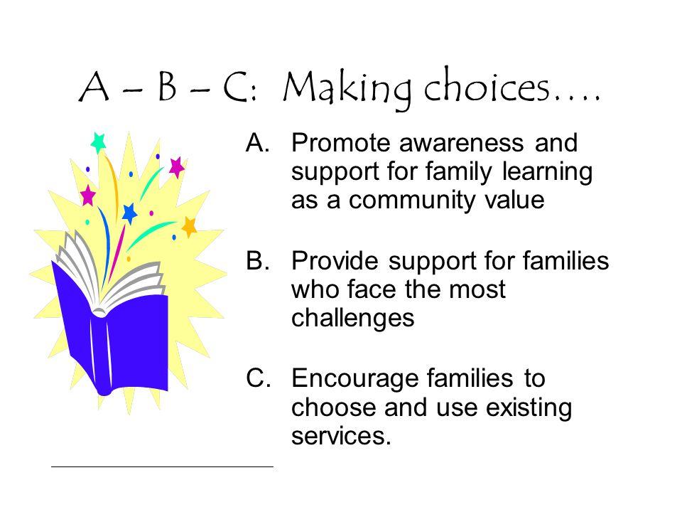 A – B – C: Making choices….