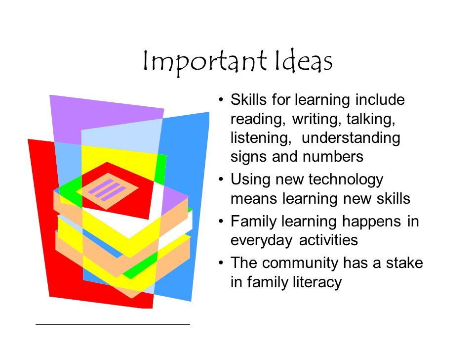 Important Ideas Skills for learning include reading, writing, talking, listening, understanding signs and numbers Using new technology means learning new skills Family learning happens in everyday activities The community has a stake in family literacy
