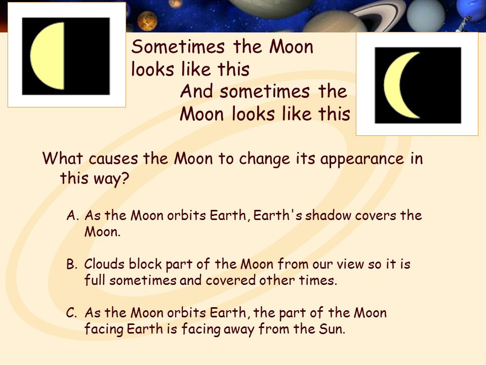 What causes the Moon to change its appearance in this way.