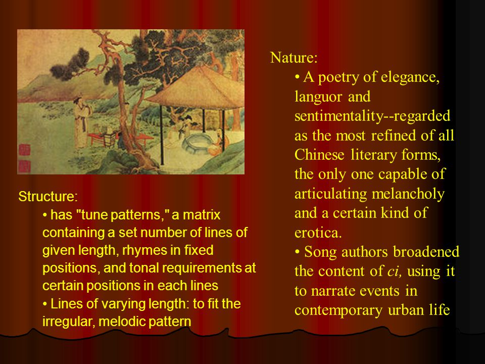 Nature: A poetry of elegance, languor and sentimentality--regarded as the most refined of all Chinese literary forms, the only one capable of articula