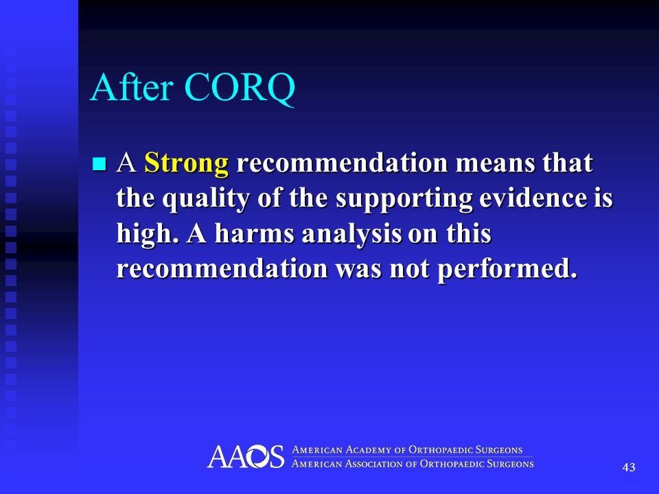 After CORQ A Strong recommendation means that the quality of the supporting evidence is high.