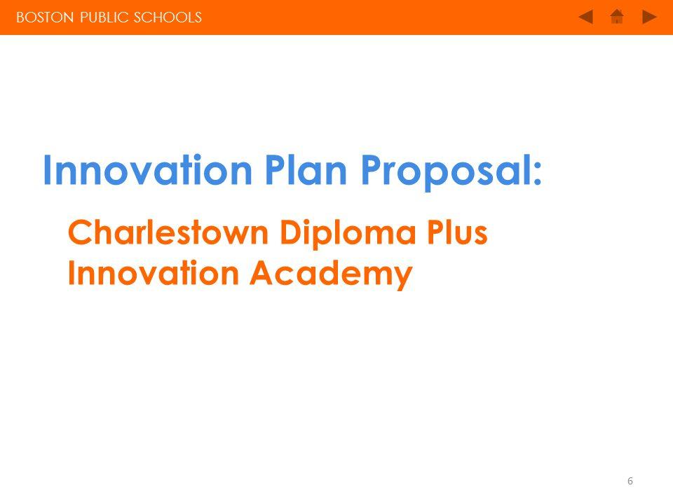 Innovation Plan Proposal: Charlestown Diploma Plus Innovation Academy BOSTON PUBLIC SCHOOLS 6