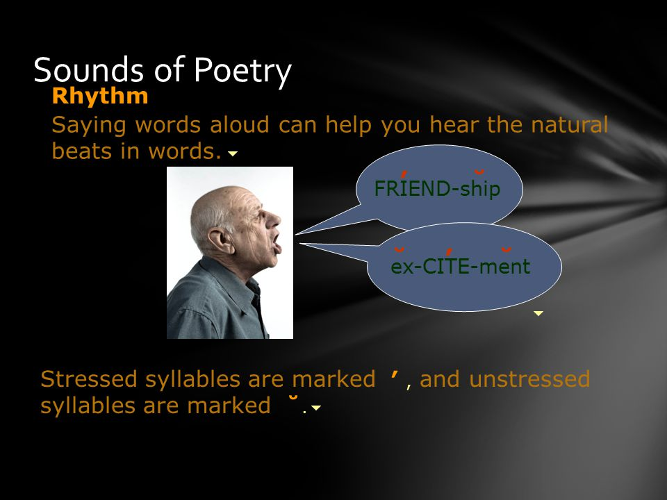 Sounds of Poetry Saying words aloud can help you hear the natural beats in words.