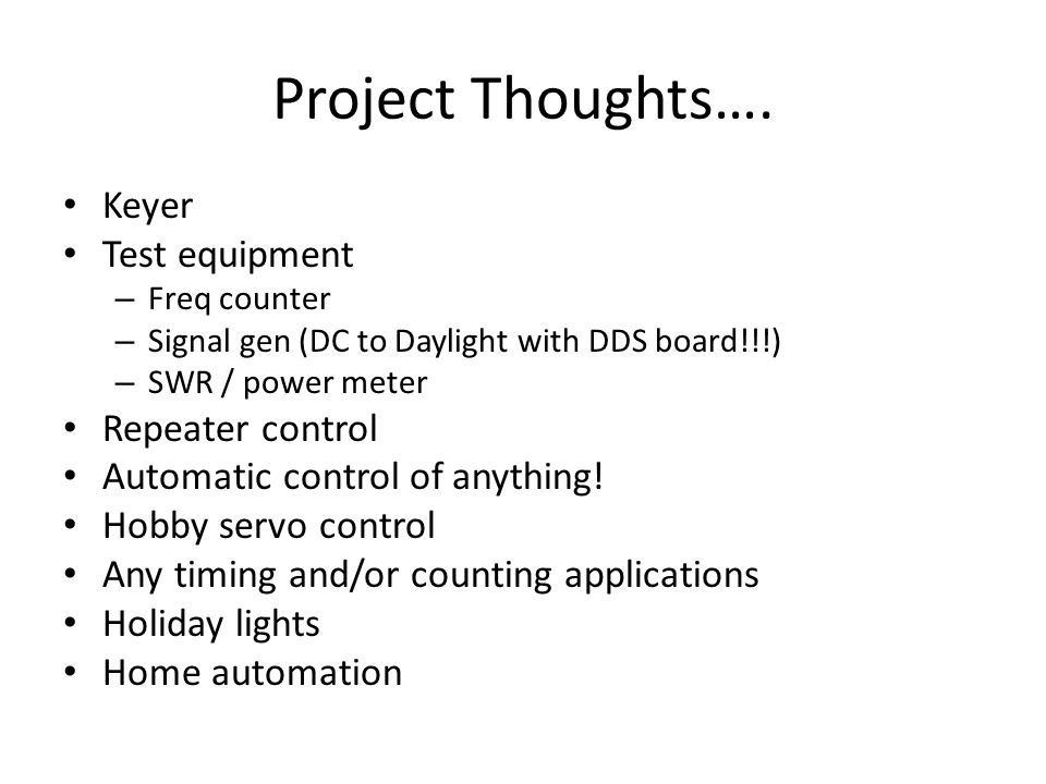 Project Thoughts….