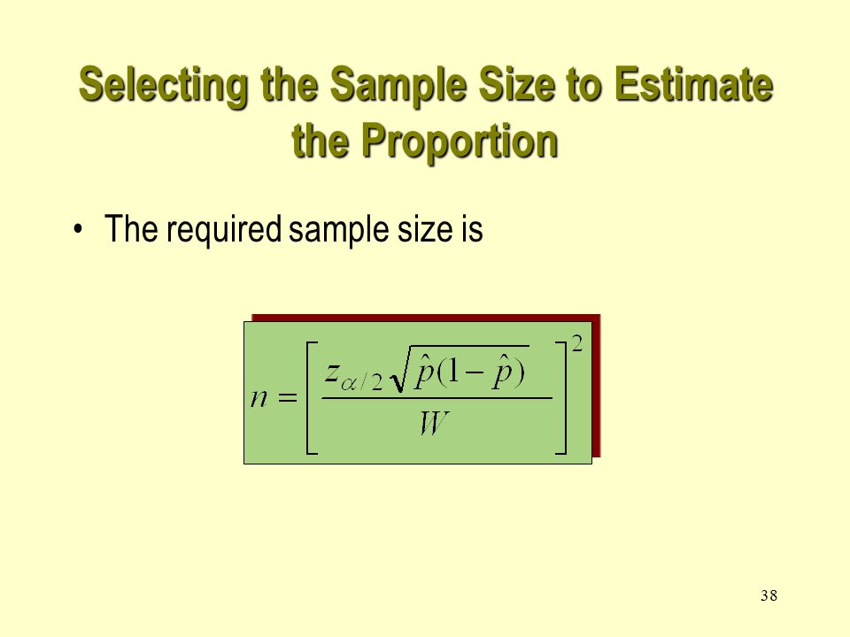 38 Selecting the Sample Size to Estimate the Proportion The required sample size is