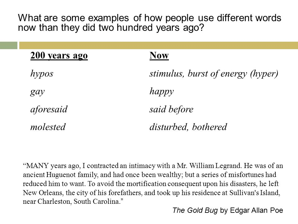 What are some examples of how people use different words now than they did two hundred years ago.