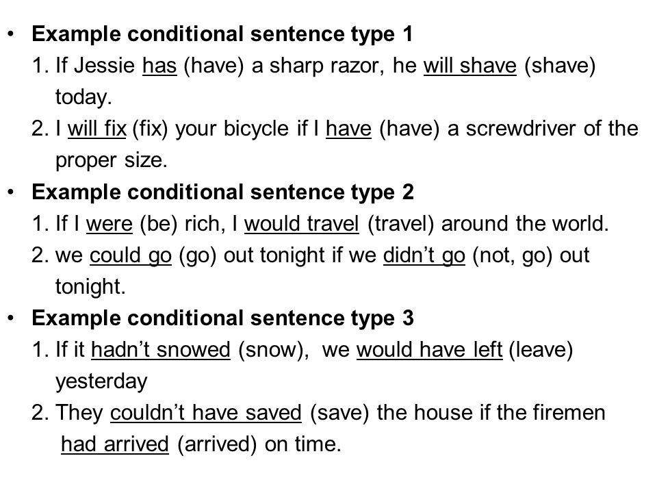 Example conditional sentence type 1 1.