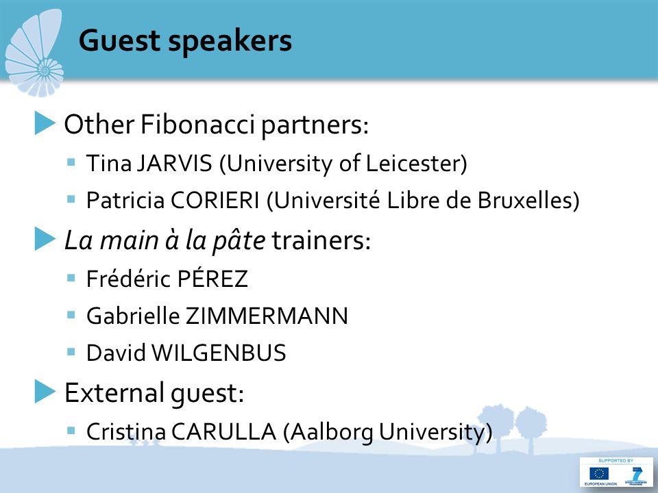 Guest speakers  Other Fibonacci partners:  Tina JARVIS (University of Leicester)  Patricia CORIERI (Université Libre de Bruxelles)  La main à la pâte trainers:  Frédéric PÉREZ  Gabrielle ZIMMERMANN  David WILGENBUS  External guest:  Cristina CARULLA (Aalborg University)