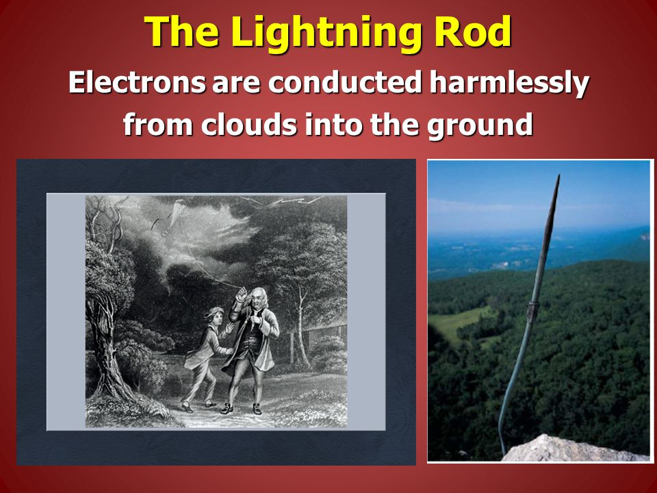 The Lightning Rod Electrons are conducted harmlessly from clouds into the ground