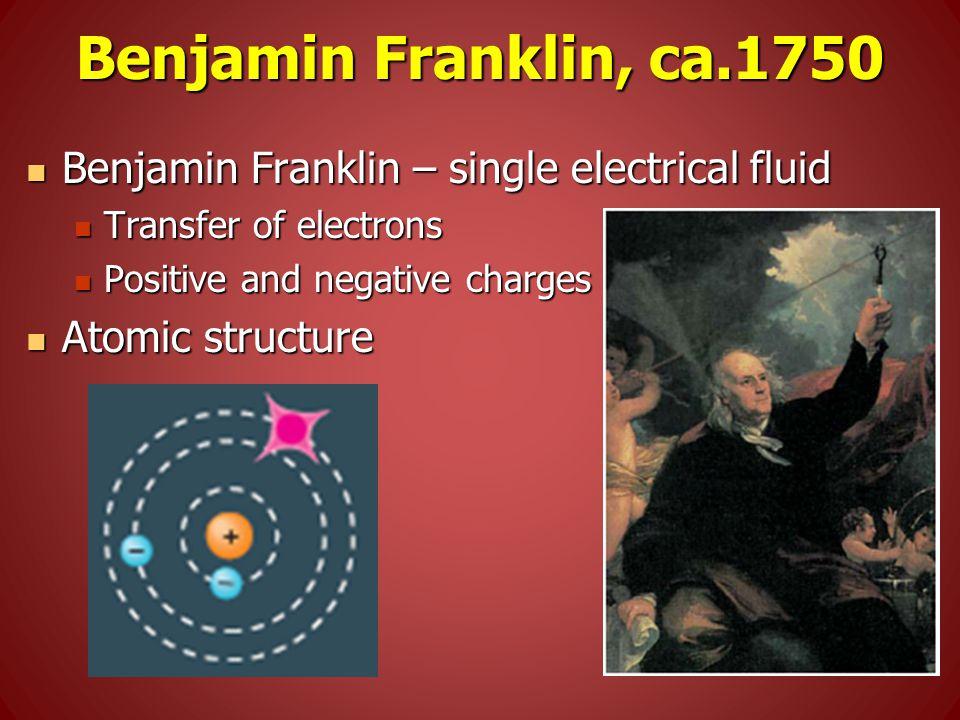 Benjamin Franklin, ca.1750 Benjamin Franklin – single electrical fluid Benjamin Franklin – single electrical fluid Transfer of electrons Transfer of electrons Positive and negative charges Positive and negative charges Atomic structure Atomic structure