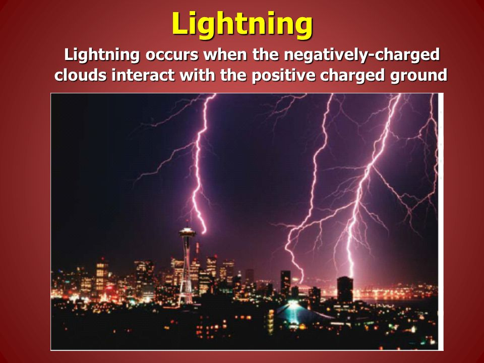 Lightning Lightning occurs when the negatively-charged clouds interact with the positive charged ground Lightning occurs when the negatively-charged clouds interact with the positive charged ground