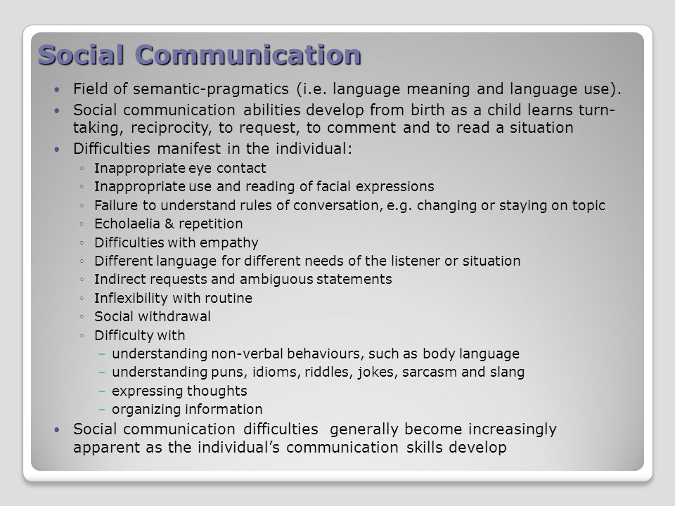 Social Communication Field of semantic-pragmatics (i.e.