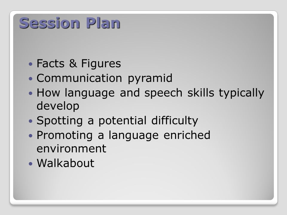 Session Plan Facts & Figures Communication pyramid How language and speech skills typically develop Spotting a potential difficulty Promoting a language enriched environment Walkabout