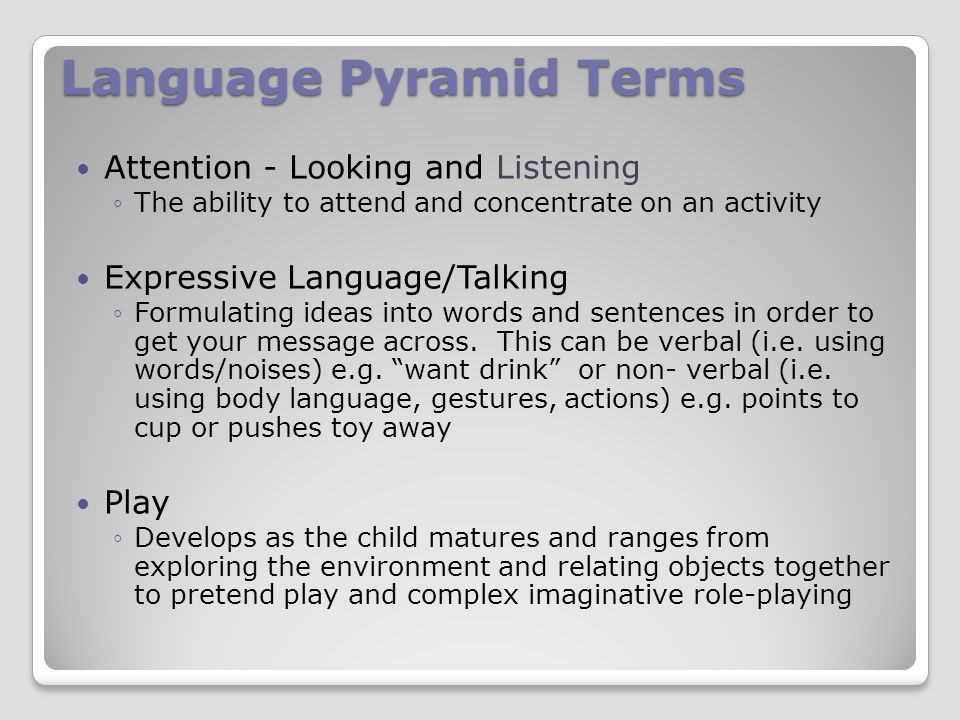 Language Pyramid Terms Attention - Looking and Listening ◦The ability to attend and concentrate on an activity Expressive Language/Talking ◦Formulating ideas into words and sentences in order to get your message across.