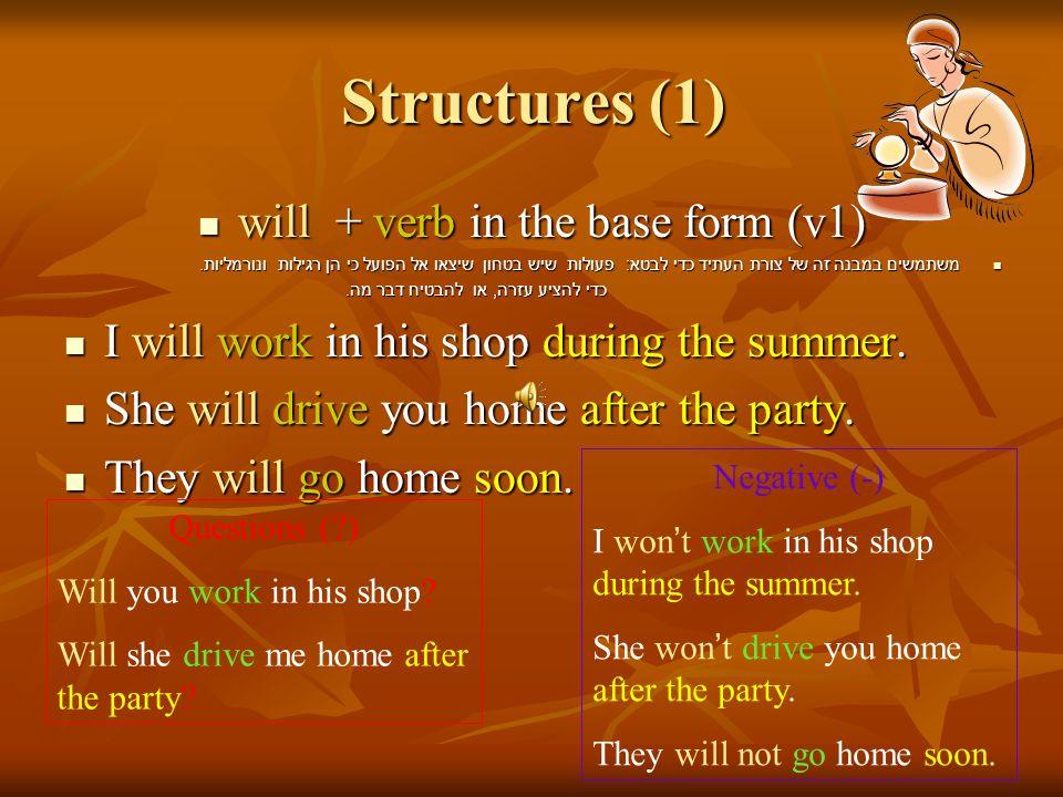 Structures (1) will + verb in the base form (v1) will + verb in the base form (v1) משתמשים במבנה זה של צורת העתיד כדי לבטא : פעולות שיש בטחון שיצאו אל הפועל כי הן רגילות ונורמליות.