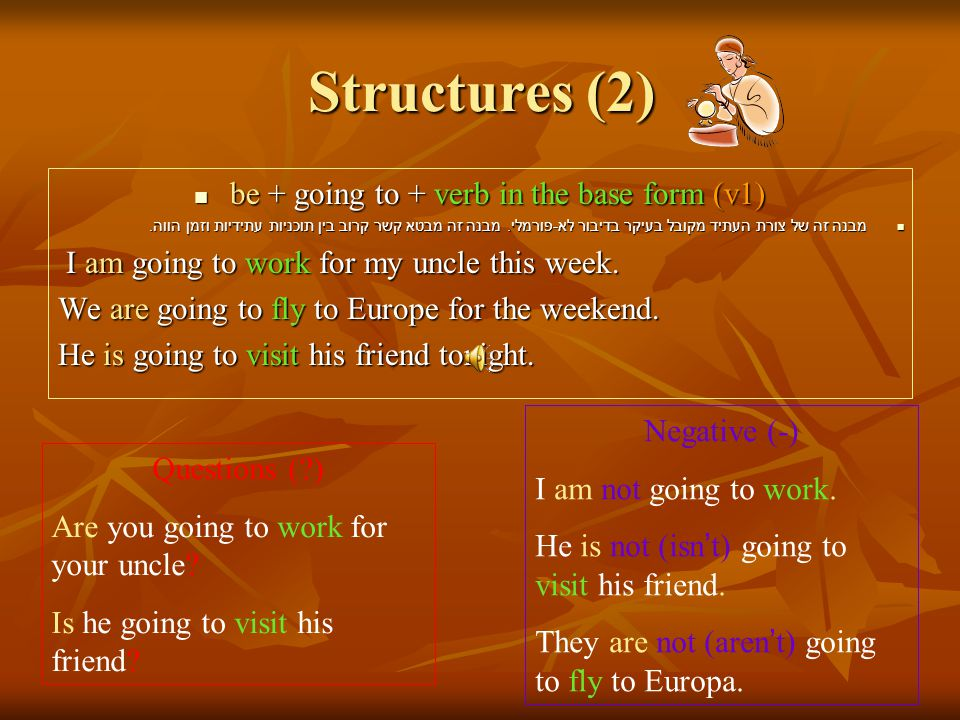 Structures (2) be + going to + verb in the base form (v1) be + going to + verb in the base form (v1) מבנה זה של צורת העתיד מקובל בעיקר בדיבור לא - פורמלי.