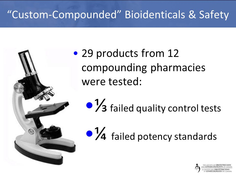 """""""Custom-Compounded"""" Bioidenticals & Safety 29 products from 12 compounding pharmacies were tested: ⅓ failed quality control tests ¼ failed potency sta"""