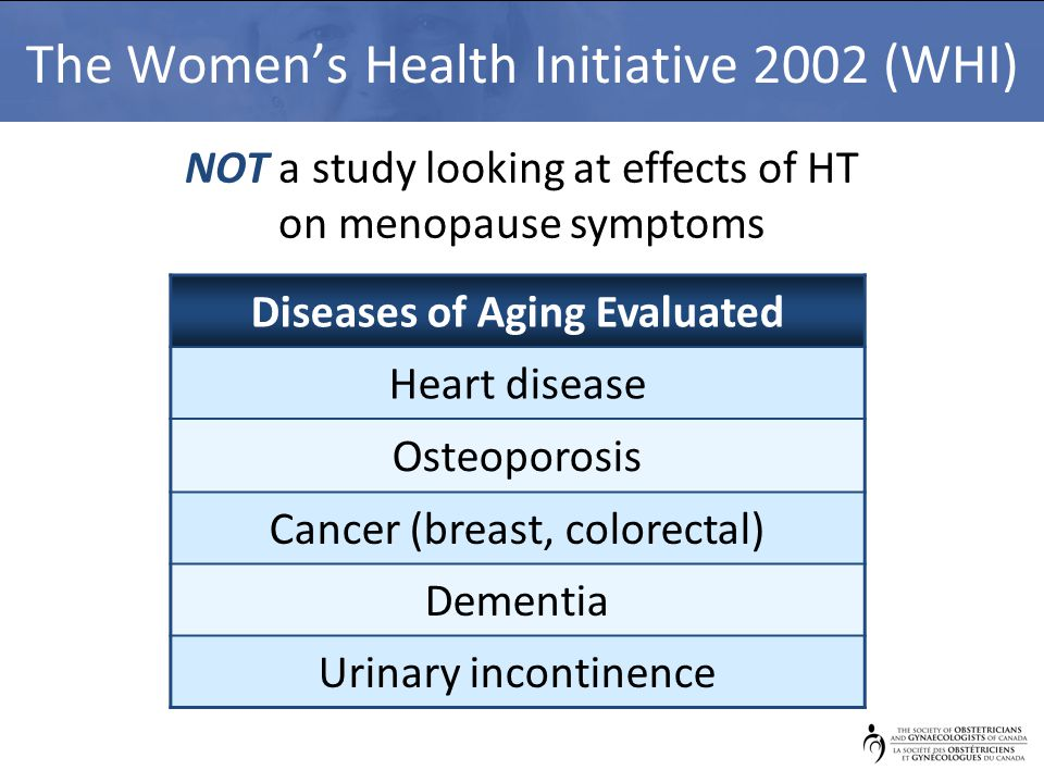 The Women's Health Initiative 2002 (WHI) Diseases of Aging Evaluated Heart disease Osteoporosis Cancer (breast, colorectal) Dementia Urinary incontinence NOT a study looking at effects of HT on menopause symptoms