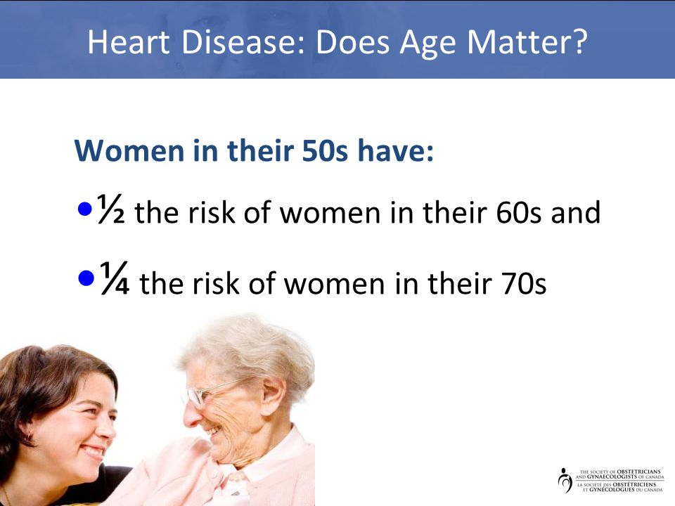 Heart Disease: Does Age Matter? Women in their 50s have: ½ the risk of women in their 60s and ¼ the risk of women in their 70s