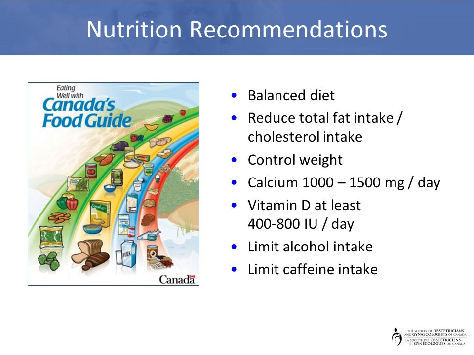 Nutrition Recommendations Balanced diet Reduce total fat intake / cholesterol intake Control weight Calcium 1000 – 1500 mg / day Vitamin D at least 400-800 IU / day Limit alcohol intake Limit caffeine intake