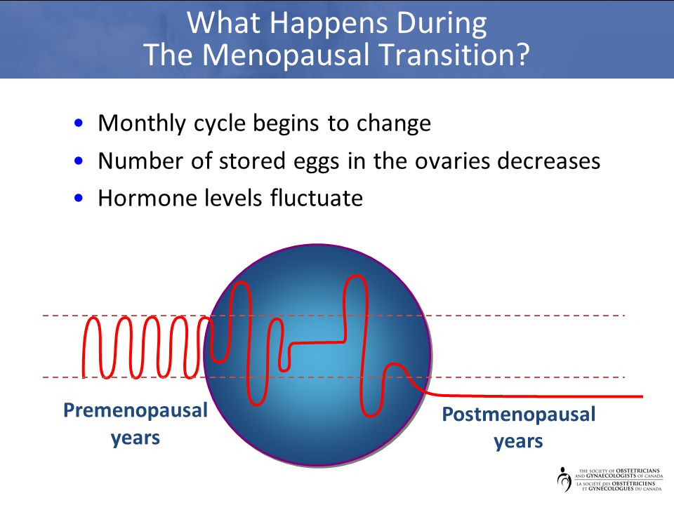 Premenopausal years Postmenopausal years What Happens During The Menopausal Transition? Monthly cycle begins to change Number of stored eggs in the ov