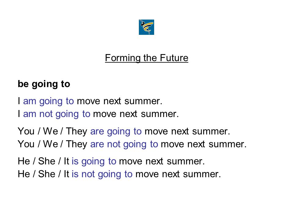 Forming the Future be going to I am going to move next summer. I am not going to move next summer. You / We / They are going to move next summer. You