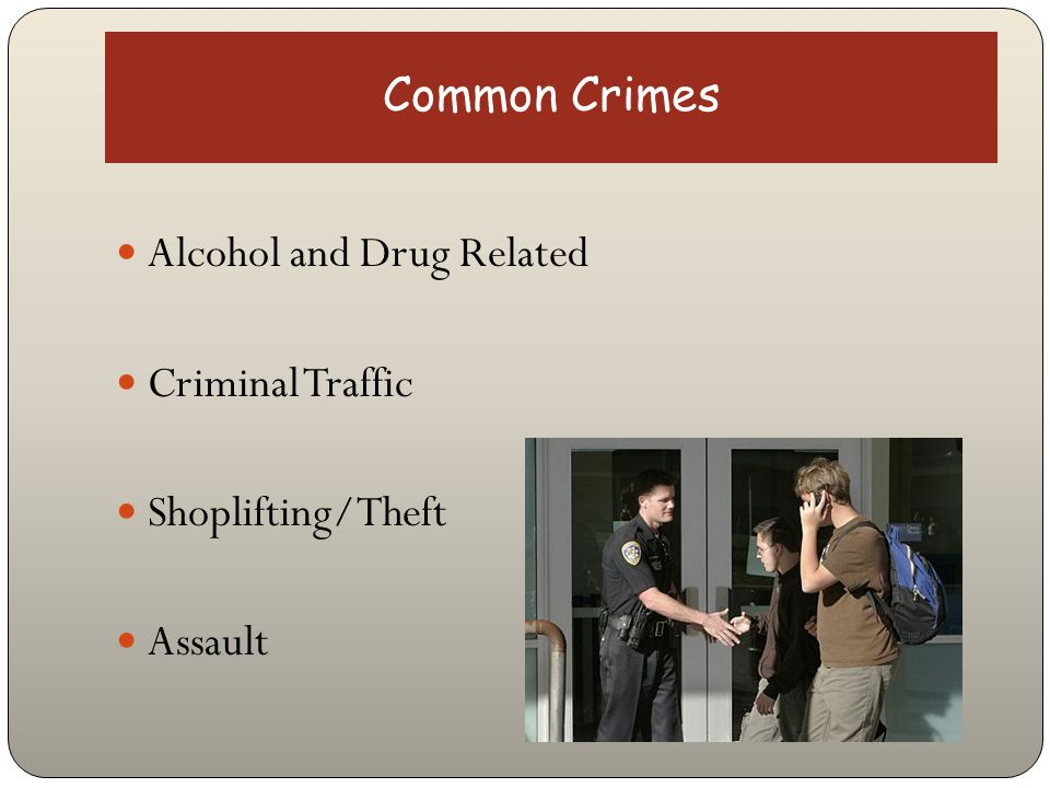 Common Crimes Alcohol and Drug Related Criminal Traffic Shoplifting/Theft Assault