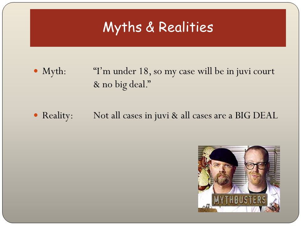 Myths & Realities Myth: No one will know about it because I wasn't convicted. Reality: All cases filed in court are public records and easily available to the public, often on the internet.