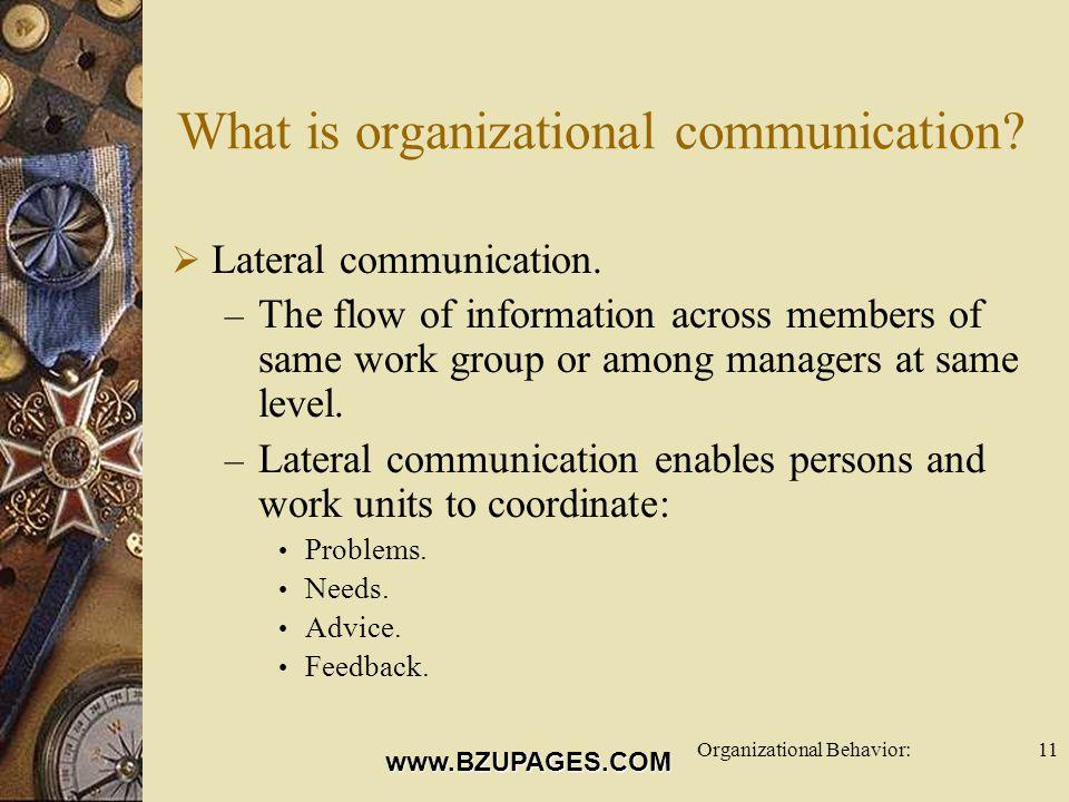 www.BZUPAGES.COM Organizational Behavior:11 What is organizational communication.