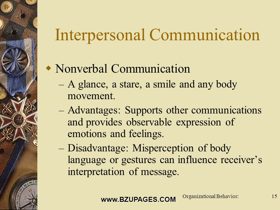 www.BZUPAGES.COM Organizational Behavior:15 Interpersonal Communication  Nonverbal Communication – A glance, a stare, a smile and any body movement.