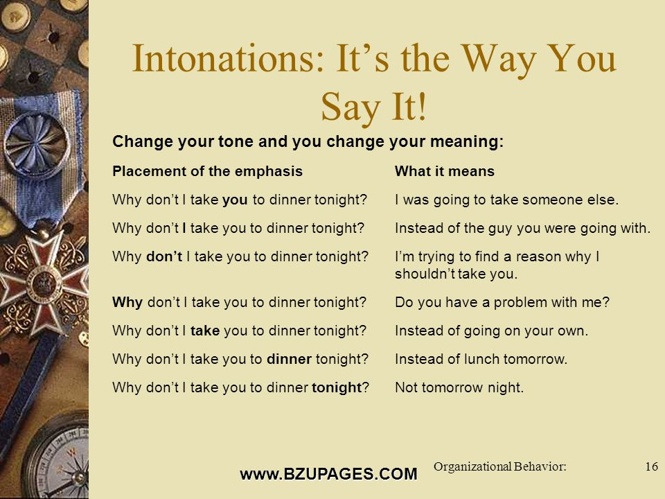 www.BZUPAGES.COM Organizational Behavior:16 Intonations: It's the Way You Say It.