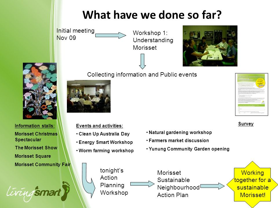 What have we done so far? Initial meeting Nov 09 Workshop 1: Understanding Morisset Collecting information and Public events Information stalls: Moris
