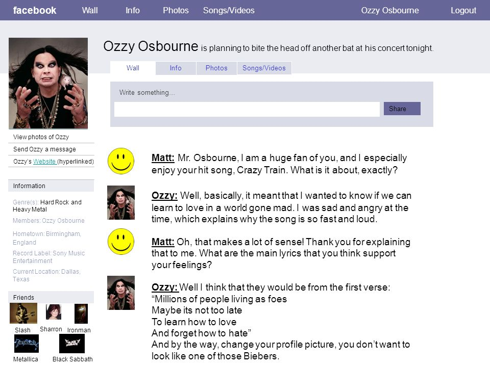 facebook Ozzy Osbourne is planning to bite the head off another bat at his concert tonight.