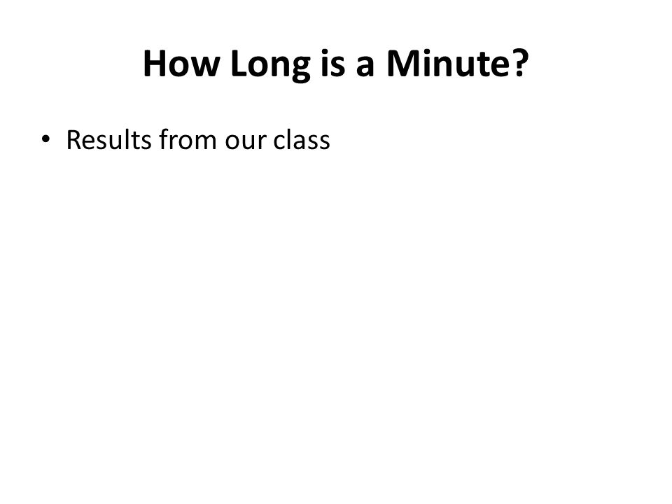 How Long is a Minute? Results from our class