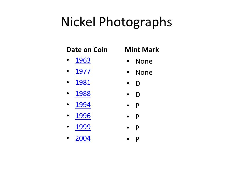 Nickel Photographs Date on Coin 1963 1977 1981 1988 1994 1996 1999 2004 Mint Mark None D D P P P P