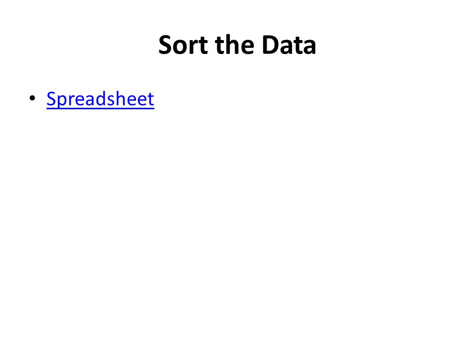 Sort the Data Spreadsheet