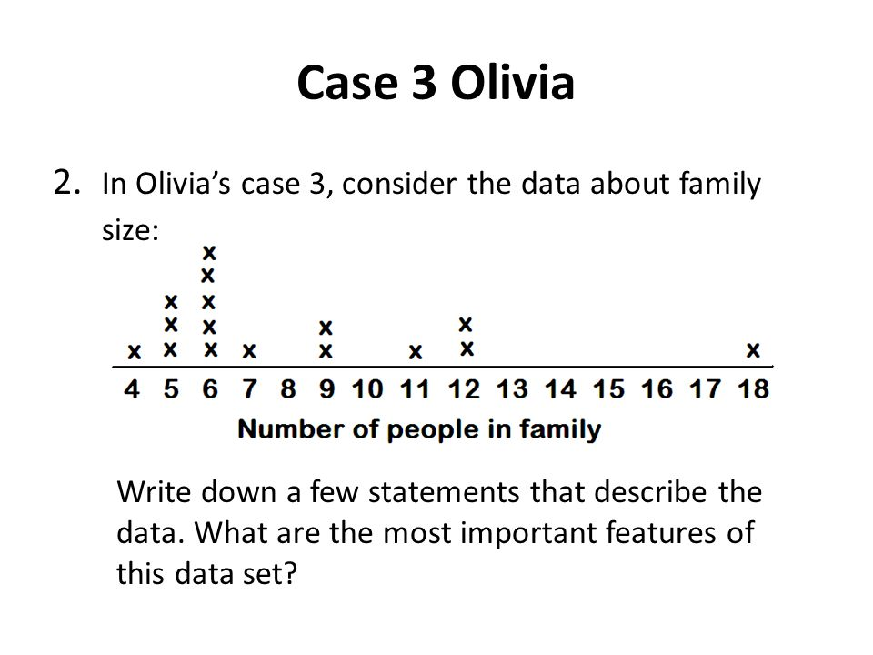 Case 3 Olivia 2. In Olivia's case 3, consider the data about family size: Write down a few statements that describe the data. What are the most import
