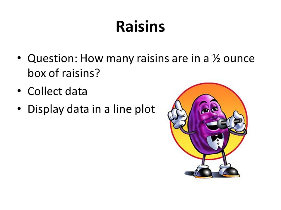 Raisins Question: How many raisins are in a ½ ounce box of raisins.