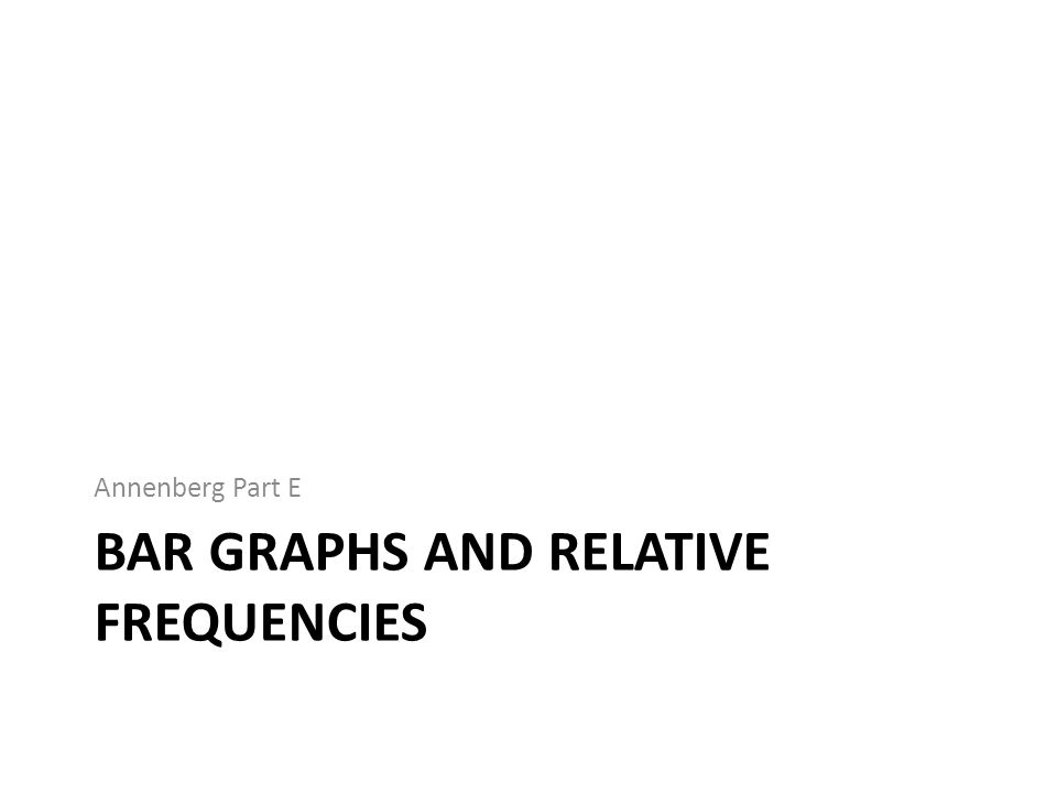 BAR GRAPHS AND RELATIVE FREQUENCIES Annenberg Part E
