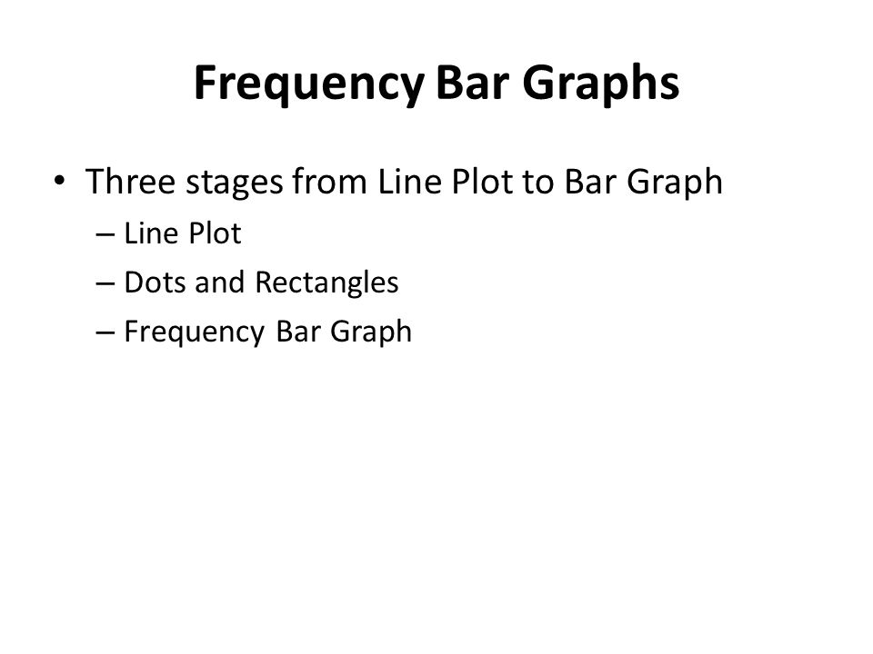 Frequency Bar Graphs Three stages from Line Plot to Bar Graph – Line Plot – Dots and Rectangles – Frequency Bar Graph