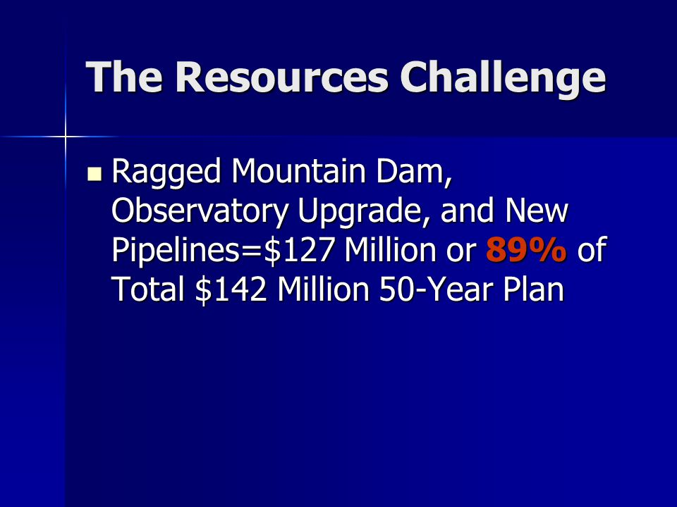 The Resources Challenge Ragged Mountain Dam, Observatory Upgrade, and New Pipelines=$127 Million or 89% of Total $142 Million 50-Year Plan Ragged Mountain Dam, Observatory Upgrade, and New Pipelines=$127 Million or 89% of Total $142 Million 50-Year Plan