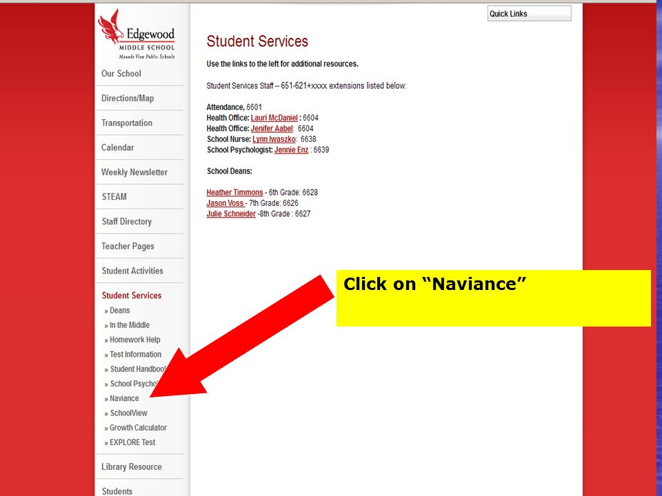 Click on Naviance