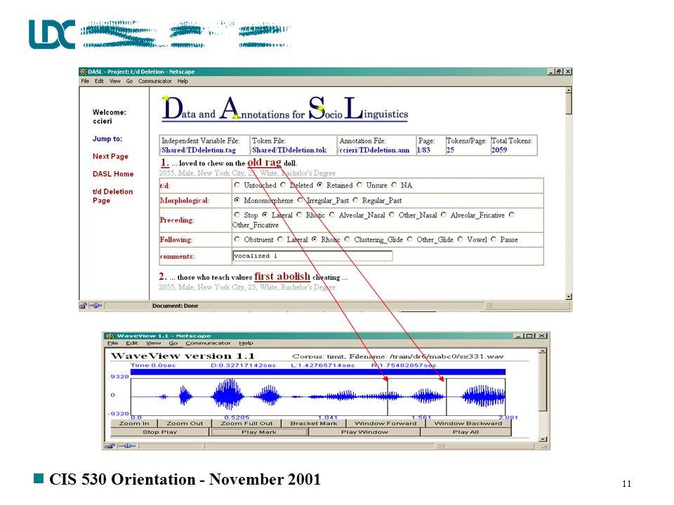 n CIS 530 Orientation - November 2001 11