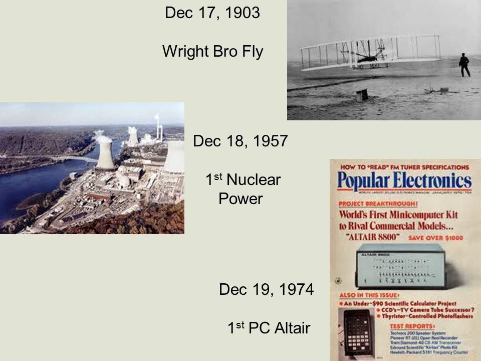 Dec 17, 1903 Wright Bro Fly Dec 18, 1957 1 st Nuclear Power Dec 19, 1974 1 st PC Altair