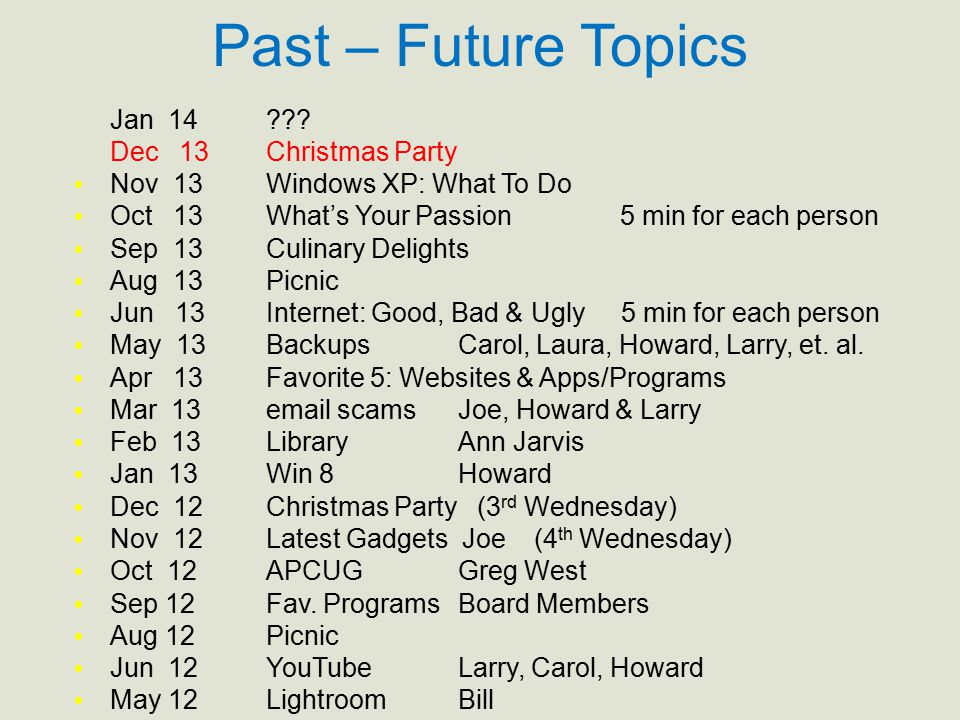 Past – Future Topics Jan 14??? Dec 13Christmas Party Nov 13Windows XP: What To Do Oct 13What's Your Passion 5 min for each person Sep 13Culinary Delig