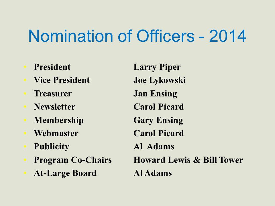 Nomination of Officers - 2014 PresidentLarry Piper Vice PresidentJoe Lykowski TreasurerJan Ensing NewsletterCarol Picard MembershipGary Ensing Webmast